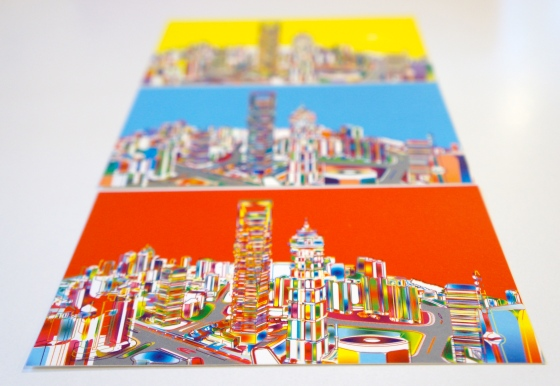 Shanghai Postcards - yellow + blue + red