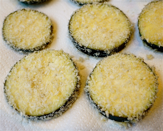 Panko Eggplant Ready for the Pan of Olive Oil