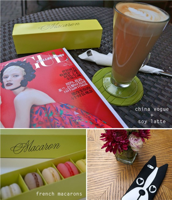 french macarons + china vogue + soy latte