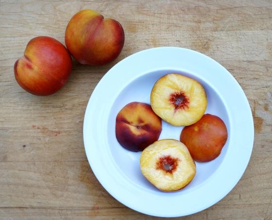 canola oil + sliced peaches